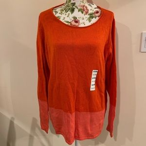 Old Navy Orange/Pink Color-block Sweater Sz XXL